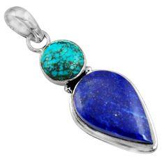 925 silver 16.10cts natural blue lapis lazuli turquoise tibetan pendant r36367