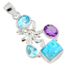925 silver 9.04cts natural blue larimar amethyst angel pendant jewelry r78368