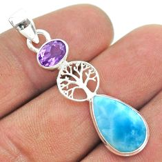 925 silver 7.13cts natural blue larimar amethyst tree of life pendant t56586
