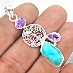 925 silver 10.51cts natural blue larimar amethyst tree of life pendant t56693