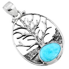 925 silver 4.52cts natural blue larimar fancy tree of life pendant r52985