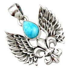 Clearance Sale- 925 silver 2.54cts natural blue larimar feather charm pendant jewelry d44850