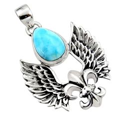 925 silver 5.31cts natural blue larimar feather charm pendant jewelry r52864