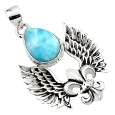 925 silver 6.71cts natural blue larimar feather charm pendant jewelry r52884