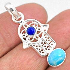 925 silver 2.66cts natural blue larimar hand of god hamsa pendant r67949