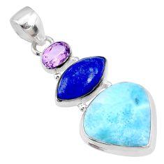 925 silver 18.15cts natural blue larimar lapis lazuli amethyst pendant r72977