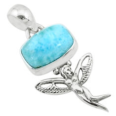 925 silver 4.06cts natural blue larimar octagan angel wings fairy pendant r72364
