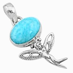 925 silver 4.08cts natural blue larimar oval angel wings fairy pendant r72389