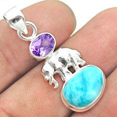 925 silver 6.72cts natural blue larimar purple amethyst elephant pendant t56630
