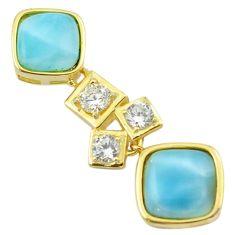 925 silver natural blue larimar topaz 14k gold pendant jewelry a62800 c14108