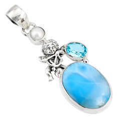 925 silver 14.12cts natural blue larimar topaz pearl angel pendant r72973