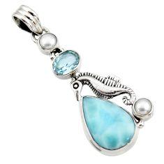 925 silver 13.79cts natural blue larimar topaz pearl seahorse pendant d43749