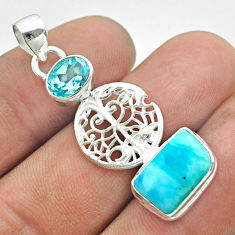 925 silver 8.38cts natural blue larimar topaz tree of life pendant t56647