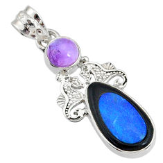 925 silver 8.42cts natural blue opal cameo on black onyx seahorse pendant r72943