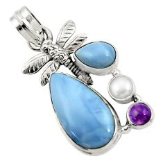 925 silver 12.40cts natural blue owyhee opal amethyst dragonfly pendant d42844