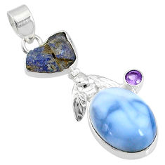 925 silver 19.23cts natural blue owyhee opal amethyst honey bee pendant r72912