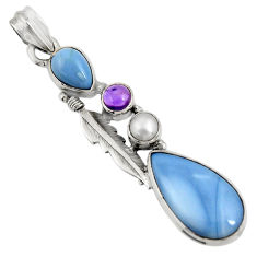 cts natural blue owyhee opal amethyst pearl pendant d42459