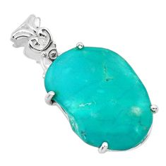 925 silver 11.62cts natural blue persian turquoise pyrite fancy pendant t31317