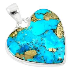 925 silver 18.70cts natural blue persian turquoise pyrite heart pendant r83269