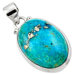 925 silver 13.22cts natural blue persian turquoise pyrite oval pendant r49345