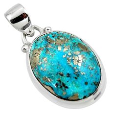 925 silver 12.93cts natural blue persian turquoise pyrite oval pendant r49349