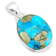 925 silver 11.70cts natural blue persian turquoise pyrite oval pendant t4144