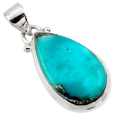 925 silver 11.20cts natural blue persian turquoise pyrite pear pendant r49328
