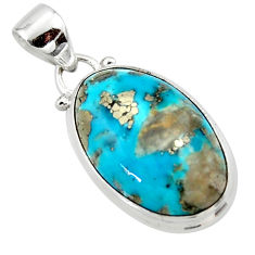 925 silver 11.57cts natural blue persian turquoise pyrite pendant jewelry r49340