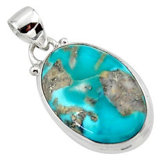 925 silver 10.65cts natural blue persian turquoise pyrite pendant jewelry r49364