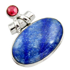 925 silver 29.34cts natural blue quartz palm stone red garnet pendant r30613