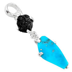 925 silver 7.08cts natural blue raw turquoise black tourmaline pendant t14933