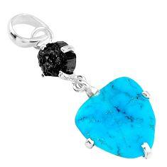 925 silver natural blue raw turquoise black tourmaline rough pendant t14936