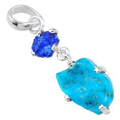 925 silver 9.22cts natural blue raw turquoise sapphire rough pendant t14919