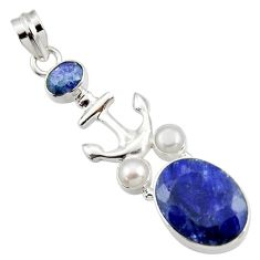 Clearance Sale- 925 silver 13.77cts natural blue sapphire pearl anchor charm pendant d43779
