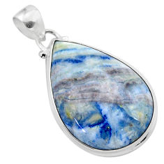 925 silver 23.95cts natural blue scheelite (lapis lace onyx) pear pendant t38604