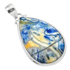 925 silver 22.57cts natural blue scheelite (lapis lace onyx) pear pendant t38610