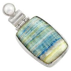 925 silver 18.15cts natural blue scheelite (lapis lace onyx) pendant r41739