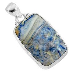925 silver 22.07cts natural blue scheelite (lapis lace onyx) pendant r94811