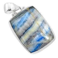 925 silver 18.15cts natural blue scheelite (lapis lace onyx) pendant r94816