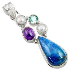 Clearance Sale- 925 silver 13.71cts natural blue shattuckite amethyst pearl pendant d43884