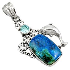 925 silver 14.20cts natural blue shattuckite topaz dolphin pendant d42644