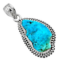 925 silver 9.27cts natural blue sleeping beauty turquoise raw pendant r66635