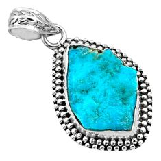925 silver 8.81cts natural blue sleeping beauty turquoise raw pendant r66640