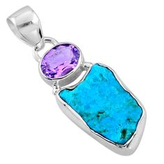 925 silver 9.25cts natural blue sleeping beauty turquoise raw pendant r66953