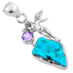 925 silver 9.18cts natural blue sleeping beauty turquoise raw pendant r66957
