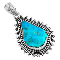 925 silver 10.78cts natural blue sleeping beauty turquoise rough pendant r62257