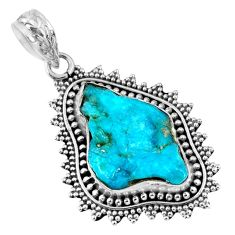 925 silver 10.78cts natural blue sleeping beauty turquoise rough pendant r62268