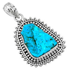 925 silver 9.25cts natural blue sleeping beauty turquoise rough pendant r62275