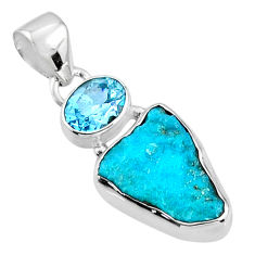 925 silver 8.69cts natural blue sleeping beauty turquoise raw pendant r66900