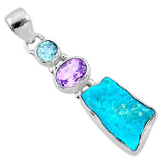 925 silver 10.20cts natural blue sleeping beauty turquoise raw pendant r66912